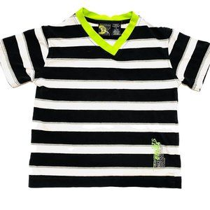 Burnside B&W Striped Neon Trim T-Shirt